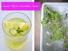 Lemon thyme cucumber cooler - For more information visit: http://www.scalingbackblog.com/beverages/26146774534/