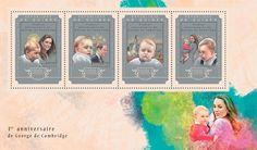 Post stamp Guinea GU 14602 a anniversary of Prince George (Catherine Middleton) 1st Anniversary, Duchess Of Cambridge, Postage Stamps, Royals, Diana, Collections, Princess, Door Bells, Birthday