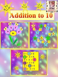 Addition to 10 This is a 25 slide PowerPoint presentation. This is a super fun and interactive slide show. 25 slides in all will give your students plenty of practice with their basic facts. The slideshow is so colorful and entertaining, the students won't even know they're learning!