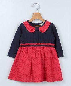 Navy & Red Polka Dot Collar Dress - Infant & Toddler