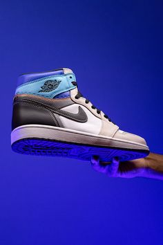 """The Air Jordan 1 High """"Prototype"""" explores a pre-production concept that includes never before seen details like perforations under the collar that mark where you can cut to turn the high-top shoe into a low-top. Would you take the scissors to your pair? Jordan 1 High Og, Jordan 3, Top Shoes, High Tops, Air Jordans, Pairs, Sneakers, Shopping, Fashion"""