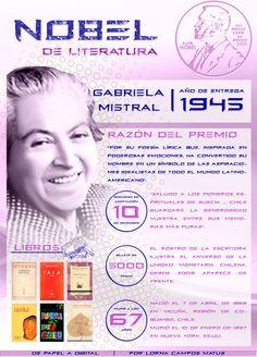 Gabriela Mistral, la primera latinoamericana en ganar el Nobel de #Literatura, por @Lorna Campos M. Ingresa a la web de la imagen para poder acceder a los links de la infografía | De Papel a Digital