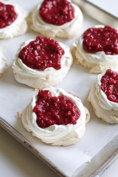 Crisp and light, these Mini Raspberry Rhubarb Pavlovas will add a hint of summer to your day. You can assemble this easy pavlova recipe in a jiffy, making these pavlovas will look like tiny masterpieces.