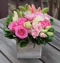 Floral gift box with roses, spray roses, lisianthus, star of bethlehem, tulips.