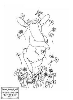 Jumping for Joy Rabbit Embroidery Transfer Pattern