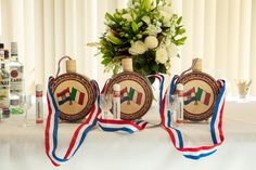 These custom made čuturica's are the perfect touch to your wedding. They can have a custom front and back to your liking. Available in store now. Croatian Wedding, The Perfect Touch, Blue Ribbon, Red White Blue, Glass Bottles, Flask, Groom, The Past, Take That