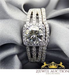 1.89 Ct Diamond Wedding Bridal Ring Set 14K White Gold Round Cut Engagement Ring #2jewelauction #WomensLadiesFemaleWeddingBridalSet