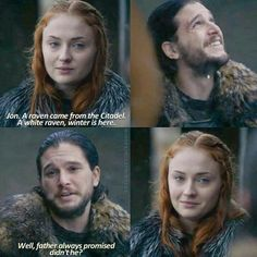 """""""A raven came from the Citadel. A white raven. Winter is here"""" - Jon & Sansa #GameOfThrones"""