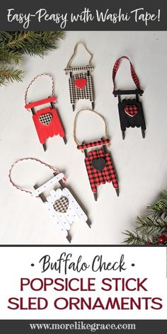 Popsicle Stick Sled Ornaments: With Plaid Washi Tape Grab some popsicle sticks and washi tape and craft up some of these charming sled ornaments Farmhouse Christmas Ornaments, Christmas Ornament Crafts, Christmas Crafts For Kids, Handmade Christmas, Holiday Crafts, Christmas Diy, Diy Ornaments, Christmas Projects, Popsicle Stick Christmas Crafts