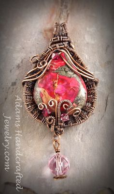 Adams Handcrafted Jewelry. Sea Sediment Jasper Regalite Pinkish Red Wire-wrapped w/ Czech Crystals in Copper Patina Finish.