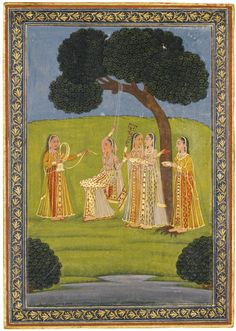 LADIES BY A STREAM, INDIA, DECCAN, HYDERABAD, CIRCA 1780