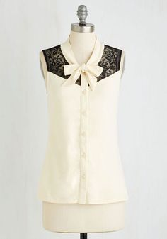 Make a Mission Statement Top in Ivory by ModCloth - Cream, Solid, Lace, Party, Work, Sleeveless, Knit, Better, Exclusives, Variation, V Neck, Mid-length, Black, Buttons, Tie Neck