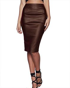 b6ea55d0d806 Donna In Pelle Bodycon Gonna Elastico Corta Gonne In Ecopelle Gonna A Matita  Caffè 44