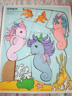 12 piece Sea Winkle, Wavedancer and Sealight wooden puzzle. Playskool (one piece missing) Childhood Toys, Childhood Memories, Wooden Puzzles, Jigsaw Puzzles, Cupcake Dolls, Rummage Sale, Vintage My Little Pony, My Little Pony Merchandise, Care Bears