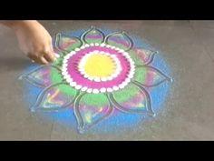 Very beautiful freehand flower rangoli design - YouTube
