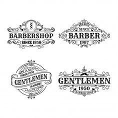 Set of vintage barbershop badge design, calligraphy and typography elements styled design Premium Vector Badge Design, Label Design, Design Set, Design Styles, Typography Inspiration, Logo Design Inspiration, Logos Retro, Vintage Typography, Vintage Logos