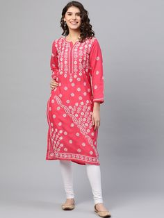 Ada Hand Embroidered Coral Pink Cotton Lucknow Chikankari Kurti – A133720 has a straight long finish along with straight hems #Ada #Adachikan #handcrafted #handembroidered #kurti #cotton #chikankari #chikan