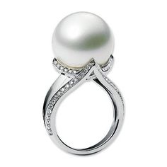 Mikimoto Cultured Pearl and Diamond Ring ... WOW