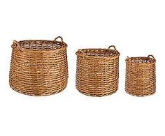 Set de 3 cestas de mimbre y cuerda Ortisei