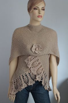 Items similar to Sale 30% OFF Light Beige Alpaca Hand Knit Crochet Shawl Wrap Scarf Shrug on Etsy
