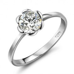 925 Sterling Silver Engagement Wedding Flower Top CZ Ring