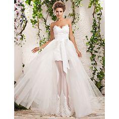 Lan Ting A-line/Princess Plus Sizes Wedding Dress - Ivory Floor-length Sweetheart Tulle – USD $ 195.49