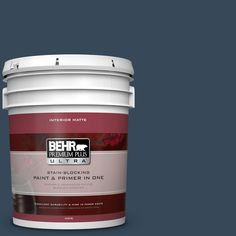 BEHR Premium Plus Ultra 5 gal. #ecc-30-3 Night Tide Flat/Matte Interior Paint