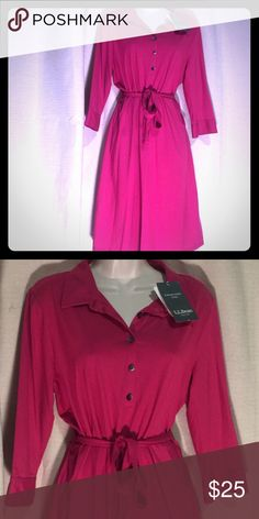 L.L. BEAN Hot Pink Shirt Dress NWT NWT Hot Pink Shirt dress button front L.L. Bean Dresses Midi