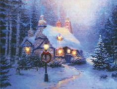 Christmas Scenes, Christmas Pictures, Christmas Art, Winter Christmas, Christmas Fireplace, Christmas Baubles, Country Christmas, Vintage Christmas, Thomas Kinkade Art