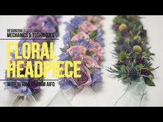 Mechanics & Techniques with Hitomi Gilliam: Floral Headpiece Maybe also for a Necktie Floral Wedding Hair, Flower Crown Wedding, Diy Wedding Flowers, Floral Hair, Flower Headpiece, Headpiece Wedding, Dusty Rose Hair, Rustic Wedding Hairstyles, Flower Video