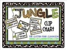 CLIP CHART BEHAVIOR PLAN for a JUNGLE ~ SAFARI CLASSROOM THEME. I implemented a CLIP CHART clip chart in my classroom 2 years ago and it has made a very positive difference. This product contains the printable you'll need to make an adorably themed clip chart for your classroom. You'll simply need to attach it to posterboard/foamboard and add pinch-style clothespins.
