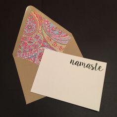 Namaste Note Cards {Set of 10 - 4x6} by loveyoumoreUS on Etsy https://www.etsy.com/listing/237106145/namaste-note-cards-set-of-10-4x6