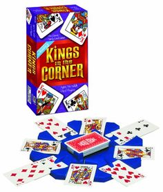 $10.06-$10.99 Baby Kings in the Corner Game - Here's a great game for all ages! Kings in the Corner is the classic card game that's royally fun. Use the unique card control centerpiece to keep the game in order. Kings go in the corners. Play the game solitaire fashion laying down cards in alternate colors to try to extend your turn as long as possible. Can't make a single play? You have to pay t ...