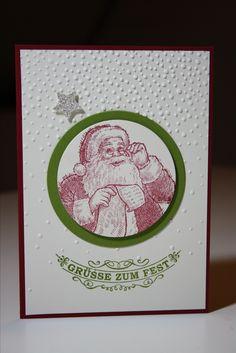 Karte mit Weihnachtsmann aus Stempelset Wunschzettel und Text aus Glockenläuten, Stampin'Up!