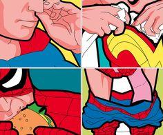 The Secret Lives of Superheroes Prints   DudeIWantThat.com