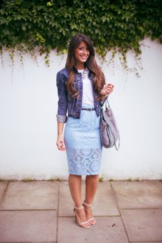 Summer fashion , lace skirt , pastels  Outfit details: lace skirt - ASOS , denim jacket - Aritzia , t-shirt - Club Monaco , bag - Stella McCartney , sandals - Daily Look , necklace - Daily Look , Belt - Asos