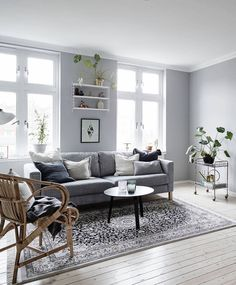 Decor Inspiration: Grey Sofa (Time for Fashion) Living Room Modern, Home Living Room, Living Room Designs, Living Spaces, Deco Addict, Scandinavian Interior Design, Scandinavian Apartment, Modern Floor Lamps, Modern Lighting