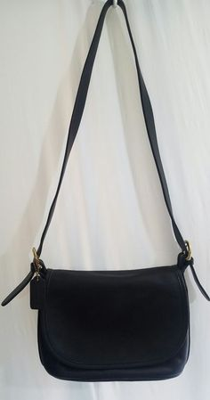 2ea804a483 Vintage Coach 4150 Black Glove Tanned Leather Flap Close Crossbody Purse.   Coach  Crossbody