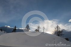 Wonderful mountain with snow and blue sky