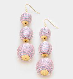 Designer Inspired Purple & Blue Triple Thread Ball Earrings #Unbranded #DropDangle