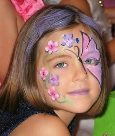 Face Paint Images on Butterfly Face Paint Design Simple Cheek Art Steps Face Face Painting Flowers, Butterfly Face Paint, Girl Face Painting, Face Painting Designs, Paint Flowers, Butterfly Flowers, Pirate Face Paintings, Easter Face Paint, Cheek Art