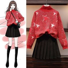 Women's autumn and winter slimming sweater two-piece suit Kpop Outfits, Teen Fashion Outfits, Korean Outfits, Girl Fashion, Casual Fall Outfits, Classy Outfits, Stylish Outfits, Fashion Drawing Dresses, Fashion Dresses