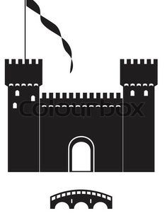 Vector of 'knight's castle of black silhouette - isolated illustration on white background'
