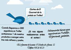 #Sorteo en #twitter. Solamente tienes que seguirnos. @Gourmet_patata.