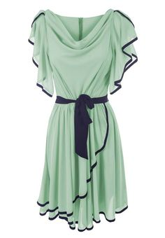LADIES MINT GREEN SHORT SLEEVE SEMI FITTED CONTRASTING SKATER DRESSES