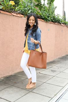 1be58ee214f Denim jacket + Yellow top + Cognac tote + wedges + white skinnies Trendy  Fashion