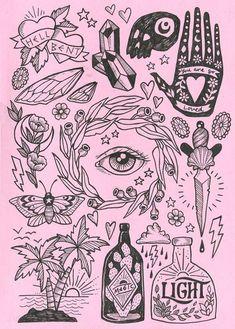 Graffiti Tattoo, Art And Illustration, Widder Tattoos, Kunst Tattoos, Art Tattoos, Arte Sketchbook, Tatoo Art, Tattoo Flash Art, Gold Art