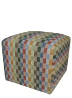 Wooden Framed Cube  with foam filled support   Upholstered in 100% pure wool   45 x 45 x 40cm   Made in Scotland