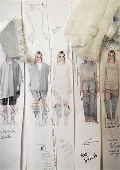 Fashion Sketchbook - the creative process of developing a collection; design ideas & fabric sampling Plus Sketchbook Layout, Textiles Sketchbook, Arte Sketchbook, Fashion Sketchbook, Fashion Sketches, Fashion Illustrations, Fashion Collage, Fashion Art, Fashion Textiles
