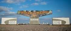 """CCCP. Soviet mosaic known informally as the """"Rybak"""" (Fisherman) greets the visitors of Baikonur in Kazakhstan, coming from the Krainy Airport."""